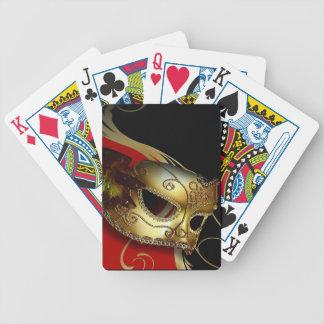 Fancy Venetian Masquerade red | gold Bicycle Card Decks