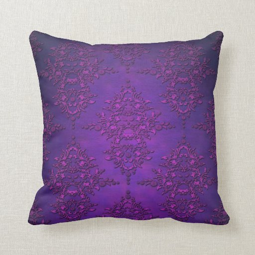 Fancy Decorative Pillows For Couch : Fancy Vibrant Purple Damask Throw Pillow Zazzle