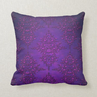 Fancy Vibrant Purple Damask Throw Pillow