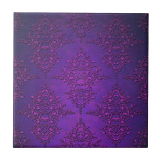 Fancy Vibrant Purple Damask Tile
