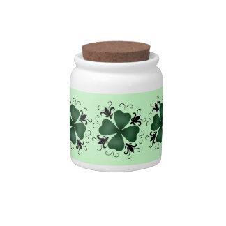 Fancy victorian shamrock candy jar