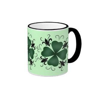 Fancy victorian shamrock St Patricks Day Ringer Coffee Mug