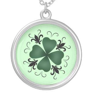 Fancy victorian shamrock St Patricks Day Silver Plated Necklace