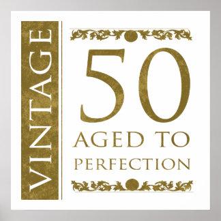 Fancy Vintage 50th Birthday Poster