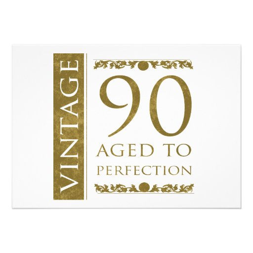 Fancy Vintage 90th Birthday Personalized Invitations
