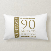 Fancy Vintage 90th Birthday Lumbar Pillow