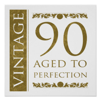Fancy Vintage 90th Birthday Posters