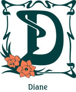 fancy vintage art nouveau letter d square sticker