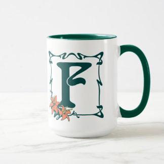 Fancy vintage art nouveau letter F Mug