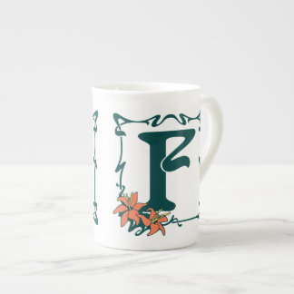 Fancy vintage art nouveau letter F Tea Cup