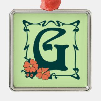 Fancy vintage art nouveau letter G Metal Ornament