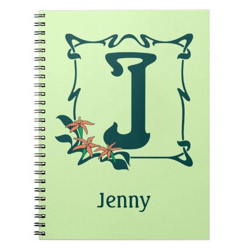 Fancy vintage art nouveau letter J Spiral Note Book