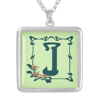 Fancy vintage art nouveau letter J Silver Plated Necklace