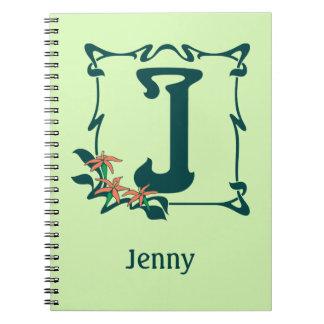 Fancy vintage art nouveau letter J Spiral Notebook