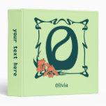 Fancy vintage art nouveau letter O 3 Ring Binder