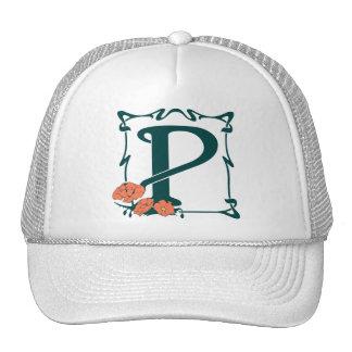 Fancy vintage art nouveau letter P Mesh Hats