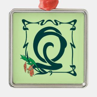 Fancy vintage art nouveau letter Q Metal Ornament