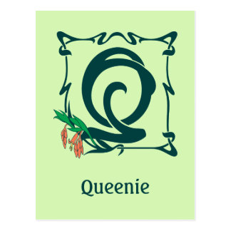 Fancy vintage art nouveau letter Q Postcard