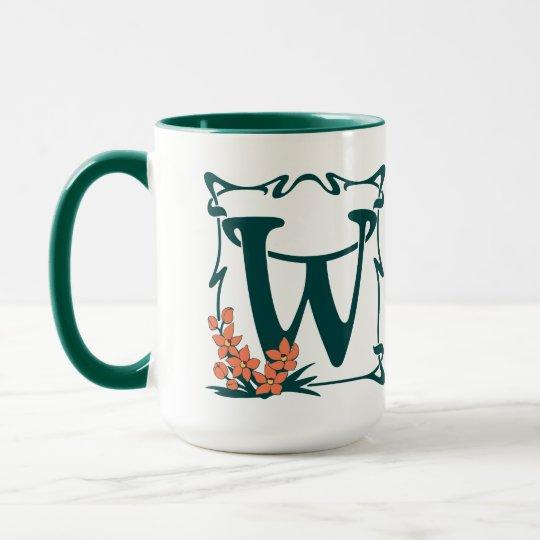Fancy vintage art nouveau letter W Mug