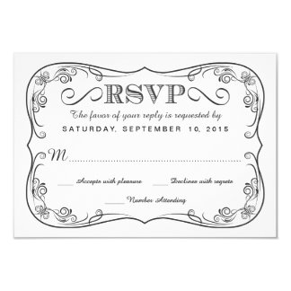 Fancy Vintage Chalkboard RSVP Wedding Reply 3.5x5 Paper Invitation Card