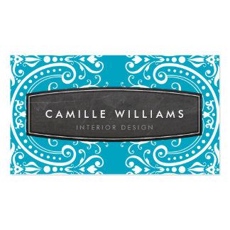 FANCY vintage elegant filigree white turquoise Business Cards