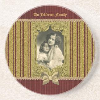 Fancy Vintage Gold Glitter Frame Bow Red Stripes Drink Coaster