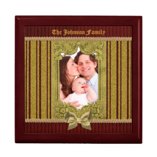 Fancy Vintage Gold Glitter Frame Bow Red Stripes Gift Box