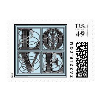 Fancy Vintage LOVE Black | Blue Stamp
