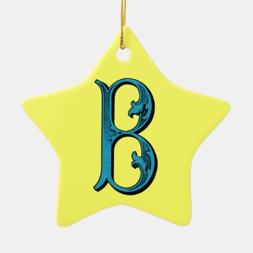 Fancy Vintage Monogram B Double-Sided Star Ceramic Christmas Ornament