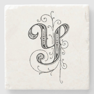 Fancy Vintage Monogram 'Y' Stone Coaster