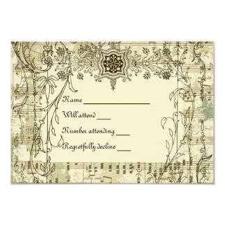 Fancy Vintage Music rsvp with envelopes 3.5x5 Paper Invitation Card