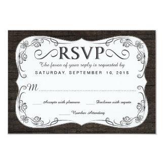 Fancy Vintage Rustic Wood RSVP Wedding Reply Card