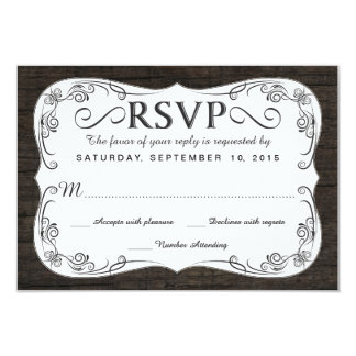 Fancy Vintage Rustic Wood RSVP Wedding Reply 3.5x5 Paper Invitation Card