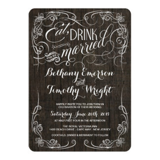 Fancy Vintage Rustic Wood Wedding Invitations