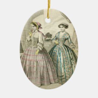 Fancy Vintage Victorian Christmas Ladies Edwardian Ceramic Ornament