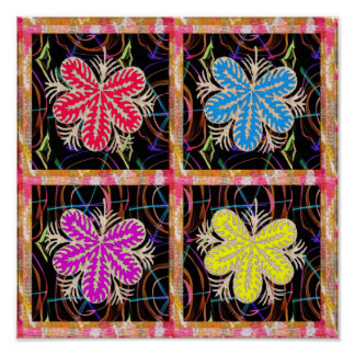 Fancy Wall Decorations Colorful Graphics Flowers Poster