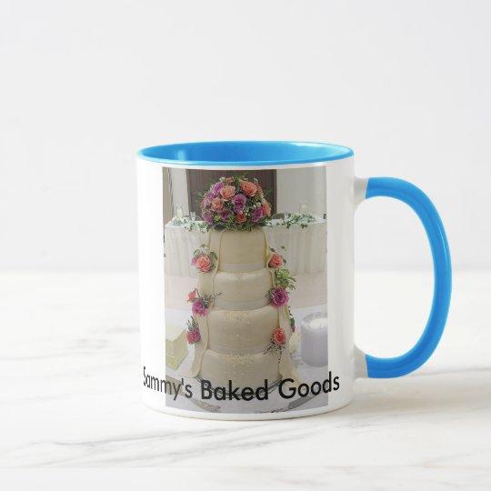 Fancy wedding cake with fresh flowers, Sammy's ... Mug