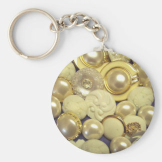 Fancy White Button Collage Keychain