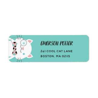 Fancy White Cat | Turquoise Label