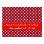 Fancy white circles on red background postcard