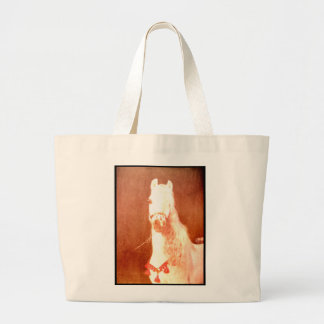 Fancy White Circus Pony Vintage Gypsy Style Large Tote Bag