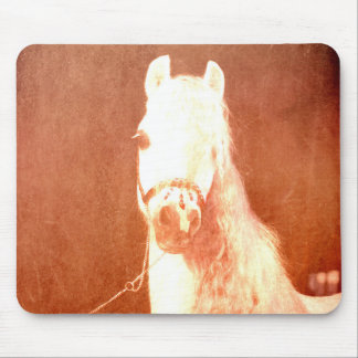 Fancy White Circus Pony Vintage Gypsy Style Mouse Pad