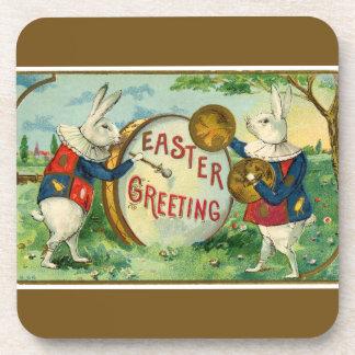 Fancy White Easter Bunnies Dark Brown Beverage Coaster