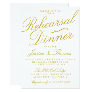 fancy white gold wedding rehearsal dinner card - Fancy Wedding Invitations