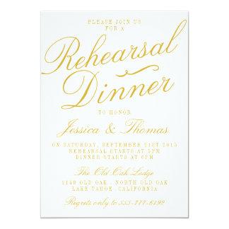 Fancy White & Gold Wedding Rehearsal Dinner Card
