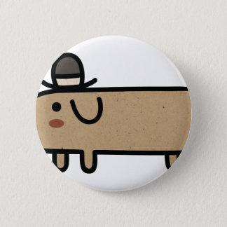 Fancy Wiener Dog with Hat Button