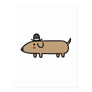 Fancy Wiener Dog with Hat Post Cards