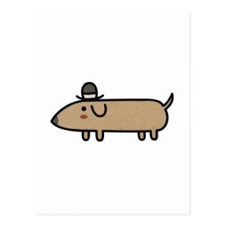 Fancy Wiener Dog with Hat Postcard