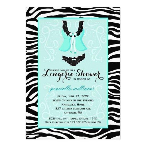 Fancy Wild Aqua Zebra Lingerie Shower Bachelorette Invite