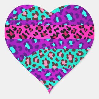 Fancy Wild Leopard Print Neon Pink Purple Blue Heart Sticker
